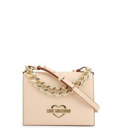 Love Moschino Beige Chain Small Crossbody