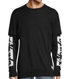 Black Layered Logo Pullover