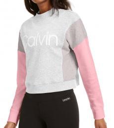 Calvin Klein Grey Colorblocked Fleece Sweatshirt