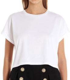 Balmain White Basic Cropped T-Shirt