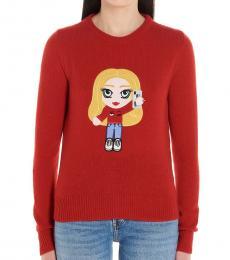 Chiara Ferragni Red Cf Mascotte Cashmere Weater
