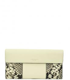 Tory Burch Ivory Block-T Travel Wallet