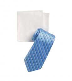 Michael Kors Blue Satin Stripe Tie & Pocket Square Set