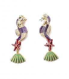 Gold Purple Sea Horse Earrings