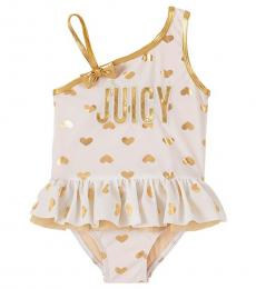 Juicy Couture Baby Girls White Asymmetrical Heart One-Piece Swimsuit