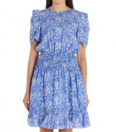 Kenzo Light Blue  Flower Print Silk Blend Dress