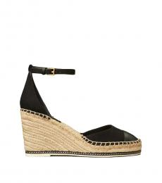 Tory Burch Black Colorblock Wedges
