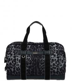 Dolce & Gabbana Black Printed Large Duffle Bag