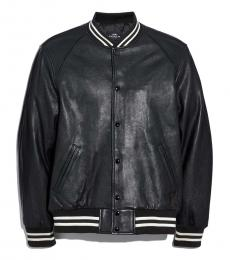 Coach Black Leather Varsity Jacket