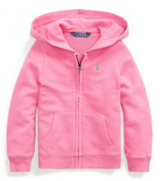 Ralph Lauren Little Girls Baja Pink Cotton-Blend-Terry Hoodie