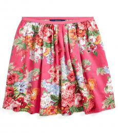 Ralph Lauren Girls Pink Floral Sateen Skirt