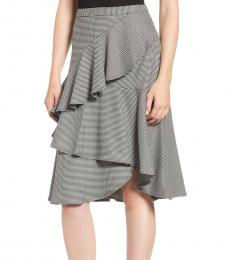 Vince Camuto Black Tiered Ruffle Houndstooth Skirt