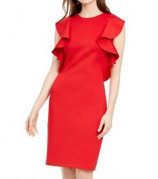 Red Ruffled Sheath Dress
