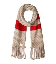 Calvin Klein Heathered Almond Striped Cable Scarf