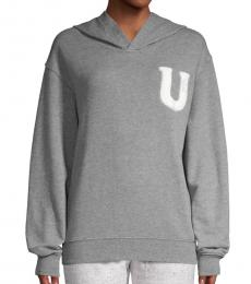 UGG Grey Fuzzy Logo Hooded Sweatshirt