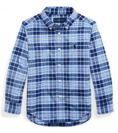 Ralph Lauren Little Boys Blue/White Plaid Performance Poplin Shirt