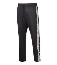 Versace Jeans Black Logo Tape Track Pants