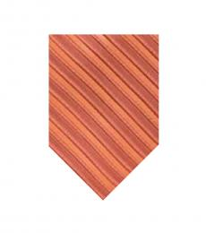 Michael Kors Orange Striped Slim Tie