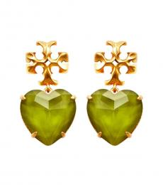 Tory Burch Mint-Gold Heart Earrings