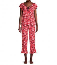 Kate Spade Red Multi 2-Piece Floral Pajama Set