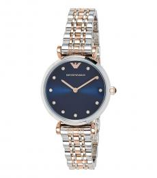 Emporio Armani Silver Gold Blue Dial Crystal Watch