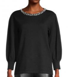 Black Embellished-Neck Sweater