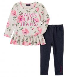 Calvin Klein 2 Piece Tunic/Leggings Set (Little Girls)