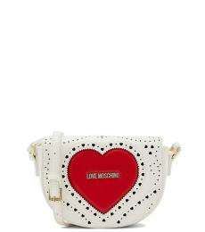 Love Moschino White Perforated Mini Crossbody