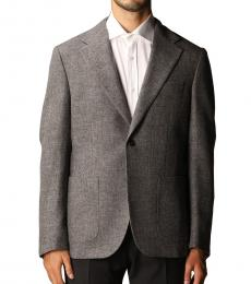Fay Grey Single-Breasted Wool Jacket
