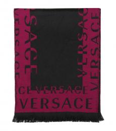 Versace Magenta-Black Colorblock Signature Scarf