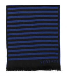 Versace Blue Black Paisley Pattern Scarf
