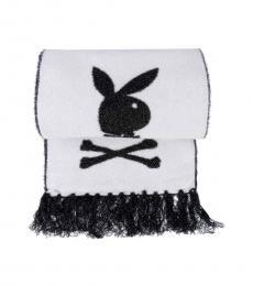 Philipp Plein Black-White Bunny Skull Logo Scarf