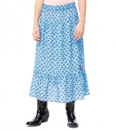 Calvin Klein Girls Alaskan Blue Floral Maxi Skirt