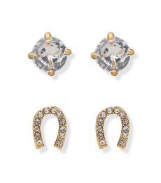 Gold Crystal Horseshoe Stud Earrings Set