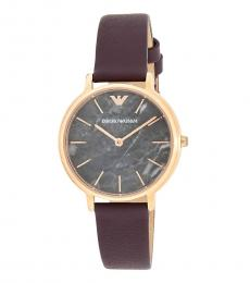 Emporio Armani Burgundy Gray Marble Dial Watch