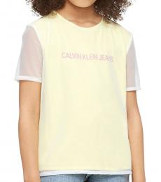Calvin Klein Girls Lemon Tonic Mesh 2 Layer T-Shirt