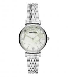 Emporio Armani Silver Marble White Dial Watch