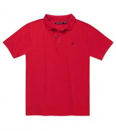 Calvin Klein Boys Dark Red Pique Polo