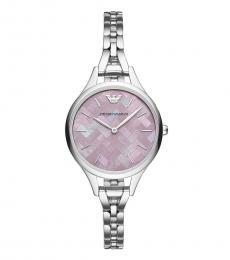 Emporio Armani Silver Pink Dial Watch