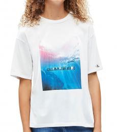 Girls White Ocean Photo T-Shirt