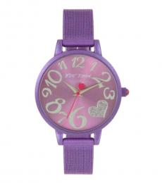 Betsey Johnson Purple Heart Mesh Bracelet Watch