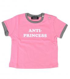 Diesel Baby Girls Pink Anti-Princess T-Shirt