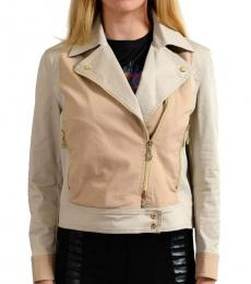 Beige Full Zip Basic Jacket