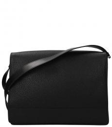 Prada Black Flap Large Messenger Bag