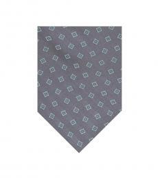 Michael Kors Grey-Green Geometric Square Pattern Tie