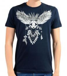 Roberto Cavalli Dark Blue Graphic Print T-Shirt