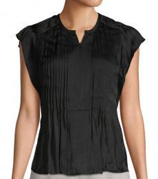 Black Pleated Split-Neck Top