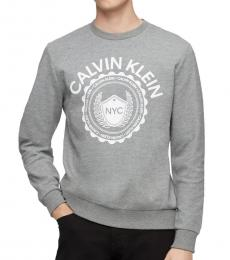 Calvin Klein Heather Grey Logo Cotton-Blend Sweatshirt