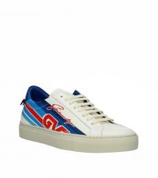 Beige Blue Low Top Sneakers