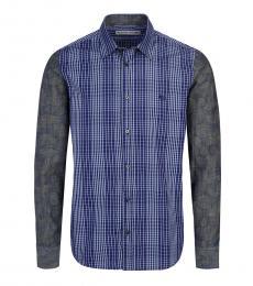Blue Allover Check Logo Shirt